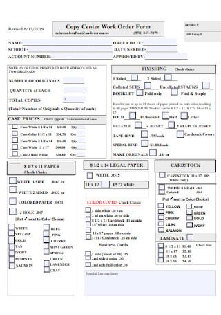 Copy Center Work Order Form