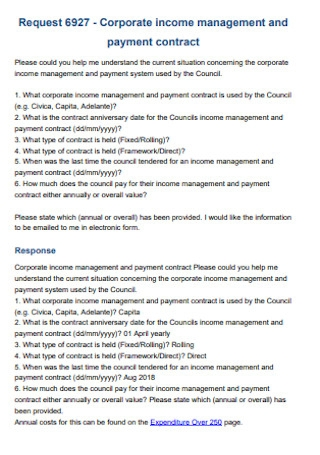 Corporate Payment Contract