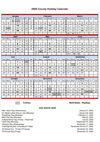 County Holiday Calendar