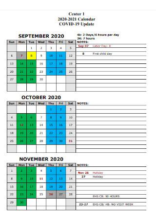 Covid 19 Quaterly Calendar