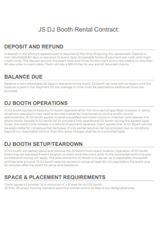 DJ Booth Rental Contract