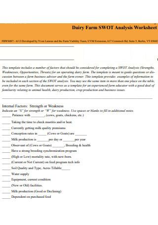 Dairy Farm SWOT Analysis Worksheet