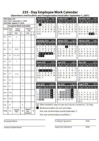 Day Employee Work Calendar