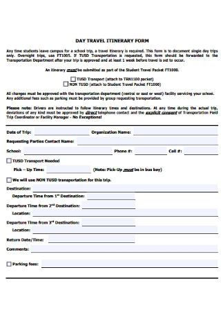 Day Travel Itinerary Form