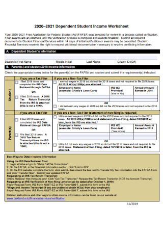 Dependent Student Income Worksheet