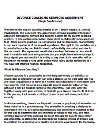 Divorce Coaching Service Agreement