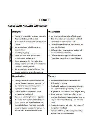 Draft SWOT Analysis Worksheet