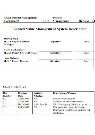 Earned Value Management System Description