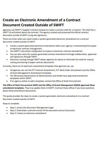 Electronic Amendment of a Contract