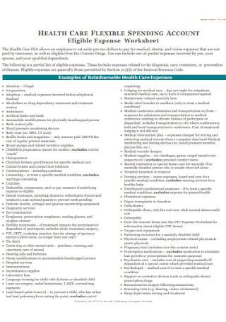 Eligible Expense Worksheet