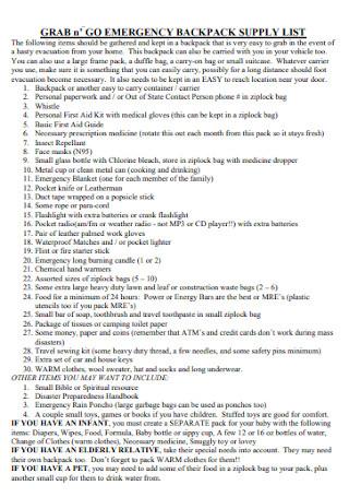 Emergency Backpack Supply List