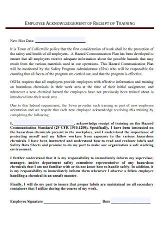 Employee Aknowledgement Receipt