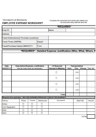 Employee Expense Worksheet