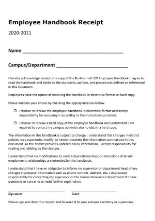 Employee Handbook Receipt