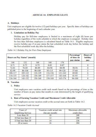 Employee Leave Schedule Format