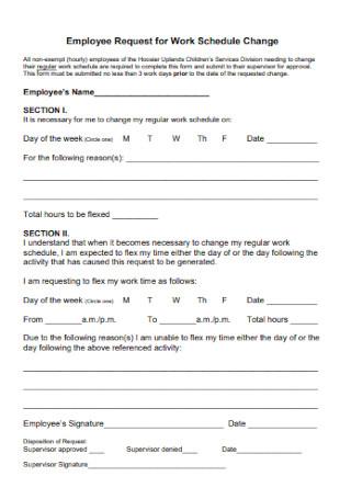 Employee Request for Work Schedule