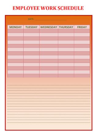 Employee Work Schedule Format