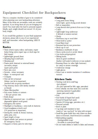 Equipment Checklist for Backpackers