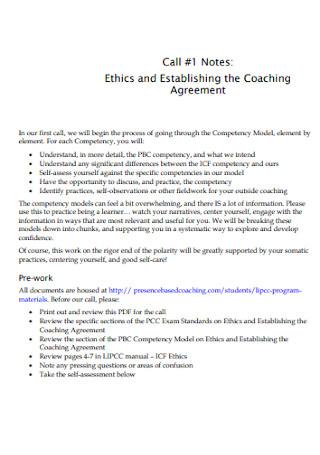 Ethics and Establishing the Coaching Agreement