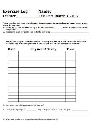 Exercise Log Format