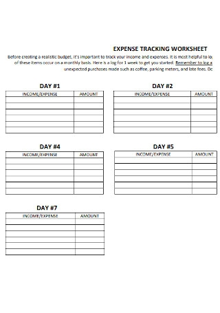 Expense Tracking Worksheet