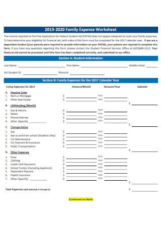 Family Expense Worksheet