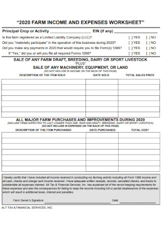 Farm Income and Expense Worksheet