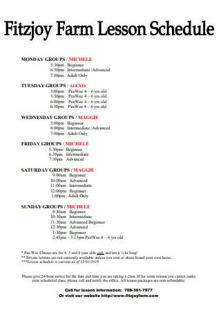 Farm Lesson Schedule