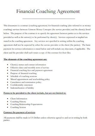 Financial Coaching Agreement
