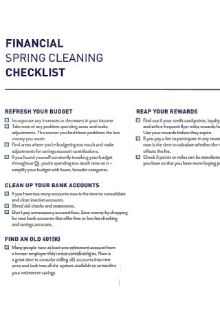 Financial Spring Cleaning Checklist