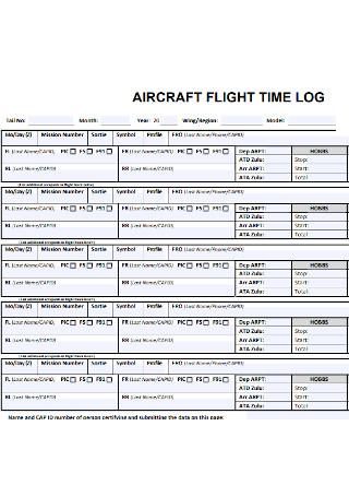 Flight Time Log