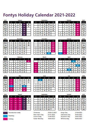Fontys Holiday Calendar