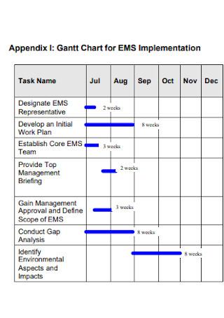 Gantt Chart for Implementation