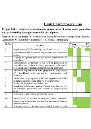 Gantt Chart of Work Plan