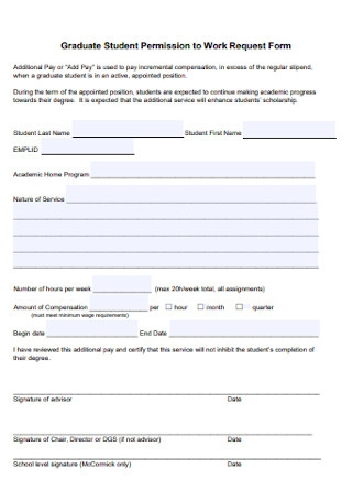 Graduate Student Permission to Work Form