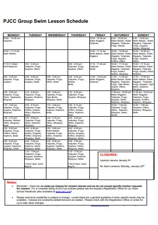 Group Swim Lesson Schedule
