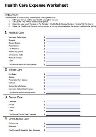 Health Care Expense Worksheet