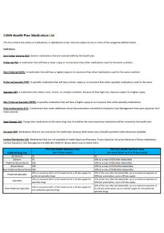 Health Plan Medication List
