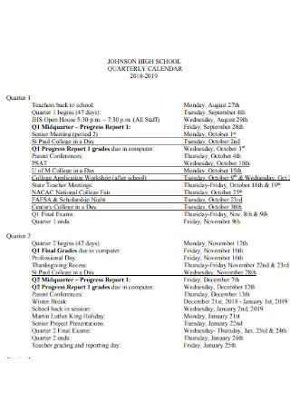High School Quaterly Calendar