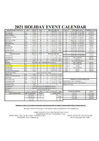 Holiday Event Calendar