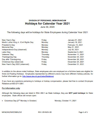 Holidays for Calendar Year