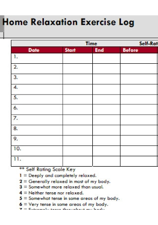 Home Relaxation Exercise Log