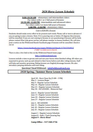 Horse Lesson Schedule