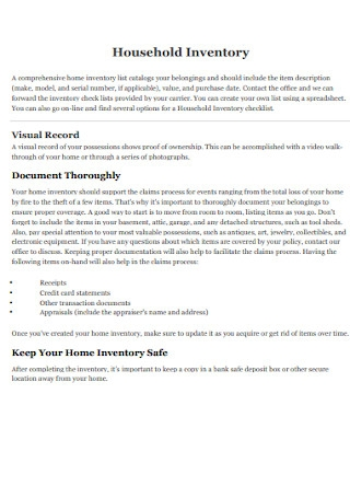Household Inventory Spreadsheet Format