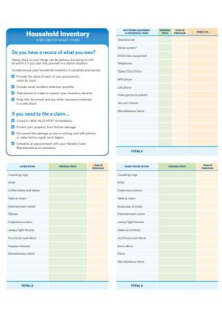 Household Inventory Spreadsheet