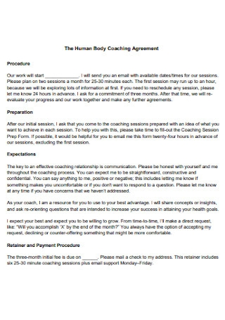 Human Body Coaching Agreement