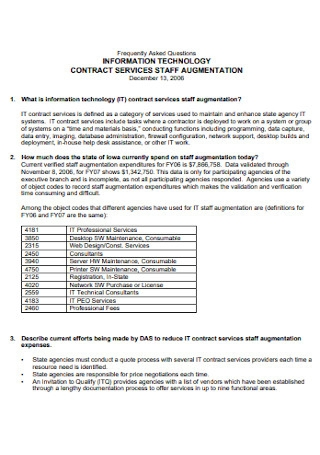 IT Company Staff Contract