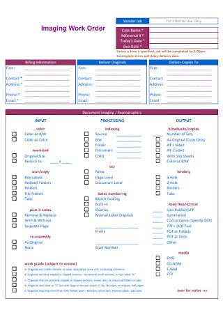 Imaging Work Order Form