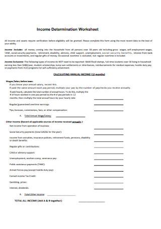 Income Determination Worksheet