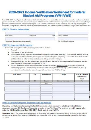 Income Verification Worksheet